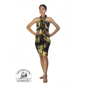 Cream and Black Sarong Tribal Batik Print Ocean Print
