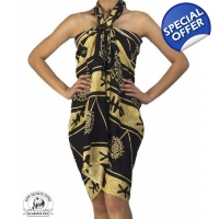 Cream and Black Sarong Tribal Batik Print Ocean ..