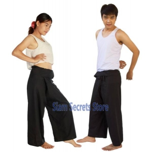 Thai fisherman Pants Yoga Trousers Black 2 lengths One-size