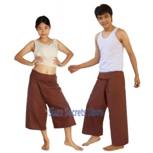 Brown Thai Fisherman Pants Yoga Wear One-size Trousers 2 length options