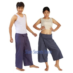 Grey Yoga Wrap Pants Thai fisherman Trousers 2 lengths Lightweight