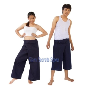 Dark Blue Yoga Wrap Fisherman Pants Freesize Trousers 2 Lengths