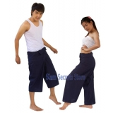 Dark Blue Yoga Wrap Fisherman Pants Fr..