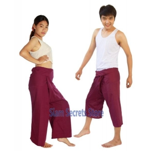 Maroon Thai Fisherman Trousers Free Movement Yoga Pants 2 lengths
