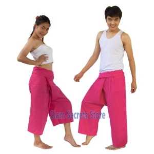 PINK Yoga Trousers Thai fisherman Pants 2 lengths Unisex Cotton