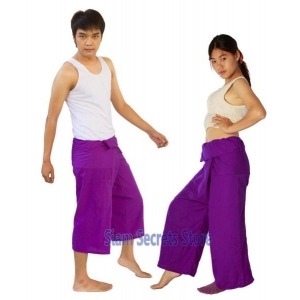 Purple Thai fisherman Pants Unisex Yoga Wrap Trousers 2 Lengths
