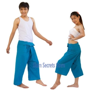 Siam Secrets Fisherman Pants Unisex Wrap Yoga Trousers Turquoise