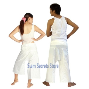 Siam Secrets White Fisherman Pants Unisex Lightweight Yoga Trousers