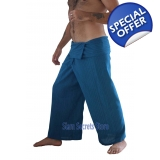 Blue Thai Fisherman Pants Yoga Wrap Tr..