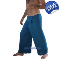 Blue Thai Fisherman Pants Yoga Wrap Trousers Rea..