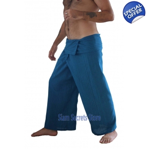 Blue Thai Fisherman Pants Yoga Wrap Trousers Real Loomed Cotton