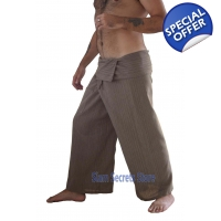 Beige Pinstripe Fisherman Pants Khaki Yoga Trous..