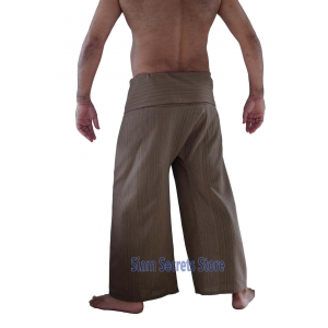 Beige Pinstripe Fisherman Pants Khaki Yoga Trousers Real Cotton