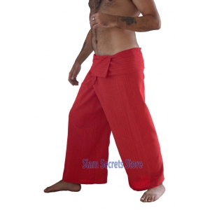 Thai Fisherman Pants Red Yoga Wrap Trousers Unisex Pinstripe