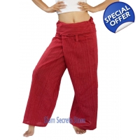 Thai Fisherman Pants Red Yoga Wrap Trousers Unis..