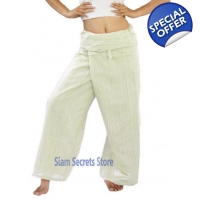 White Thai Fisherman Pants Pinstripe Cotton Wrap..