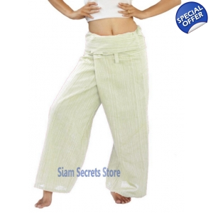 White Thai Fisherman Pants Pinstripe Cotton Wrap Yoga Trousers