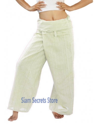 1fc9b1148d White Fishermans Pants free-size Thai Wrap Cotton Yoga Trousers