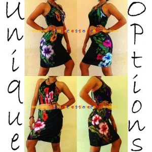 Ladies Handmade Hibiscus Sarong Beach Wrap Skirt and Top Set Options