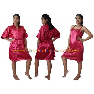 Satin Robe and Chemise Set Silky Rose Embossed Ladies Nightwear