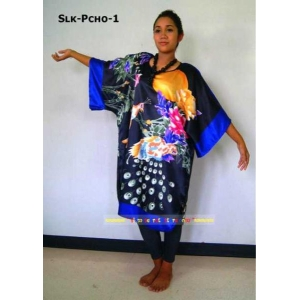 Thai Silk Caftan Asian Peacock Design Stunning Ladies Poncho Dress