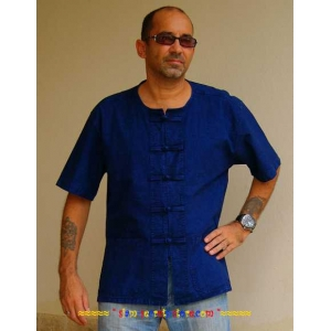 Blue Mens Shirt Asian Kung Fu Style Short Sleeved Loomed Cotton M-4XL