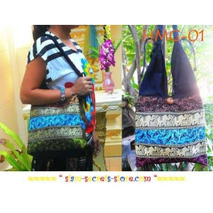 Stunning Sling Shoulder Gypsie Bag Boho-Cotton and Silk-Hmong