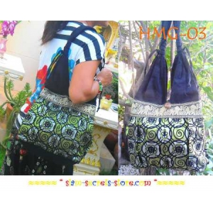 Shoulder Gypsie sling Bag Boho, Cotton and Green Silk Decorated, Hmong