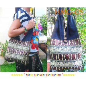 Sling Shoulder Bag Boho Cotton and Brown Silk Elephant and Seaquins