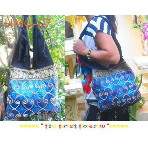 Ladies Shoulder Bag Hippy Boho Cotton Shiny thread Blue Silk Sequins