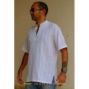 Mens White Shirt Stylish Kurta Ribbed Cotton Cutaway Collar M-4XL