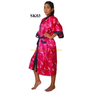 Stylish Satin Robe Silky Asian Kimono Dressing Gown Luxury Nightwear