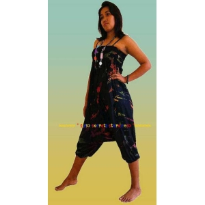 Tie Dye Black harem pants Jumpsuit Combination Ladies Genie Trousers