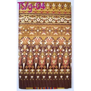 Thai Ladies Sarong Traditional Raw Gold Print Stunning Festival Wear