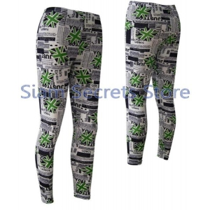 Stretch Yoga Pants Leggings Union Jack Flag on Newsprint Options
