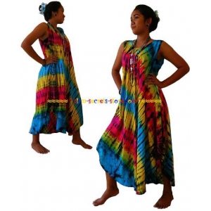 Stunning Beach Umbrella Ladies dress-Vivid colour Authentic Tie dye