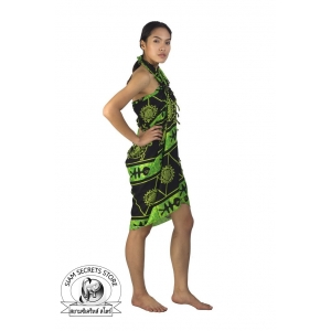 Black with Green Batik Tribal Sarong Ocean Print pareo