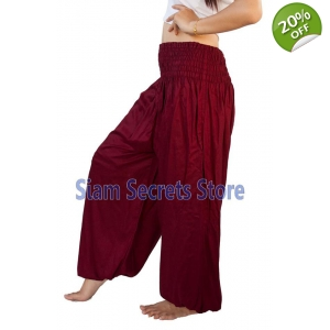 Casual Trousers Aladdin Maroon Harem Pants Yoga Dance Sweatpants