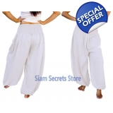 Casual Trousers Aladdin White Harem Pa..