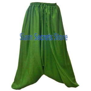 Green Baggy Harem Pants Soft Light Baggy Ladies Sarouel Trousers