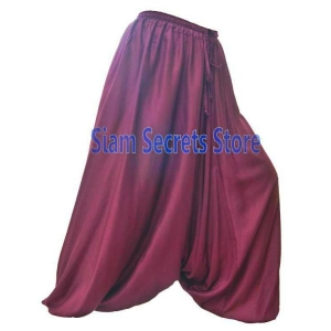 Stylish Maroon Harem Pants Soft and Light Baggy Sarouel Trousers
