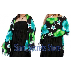 Black Floral Sarong Stunning Green Hibiscus Flower Luxurious Rayon