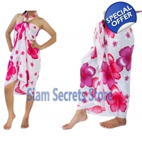 Floral Beach Sarong White Wrap Pareo Dress Pink ..