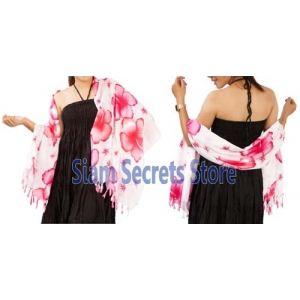 Floral Beach Sarong White Wrap Pareo Dress Pink Hibiscus Flower