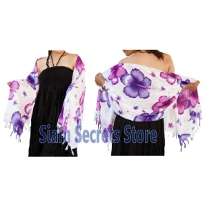 White Silky Beach Sarong featuring Mixed Purple Hibiscus Flowers