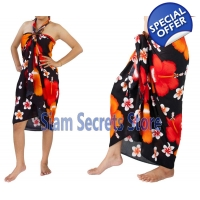 Black Floral Sarong Stunning Red Hibiscus Flower..