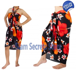 Black Floral Sarong Stunning Red Hibiscus Flower Soft & Silky Rayon