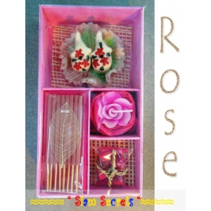 Luxurious Rose Scented  Incense gift Set, Burner Candle Sticks Cones