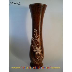 Asian Decorative Vase, Hand Crafted & Lacquered Mango wood