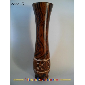 Ethnic Vase Beautiful Hand Crafted Lacquered & Carved Mango Wood
